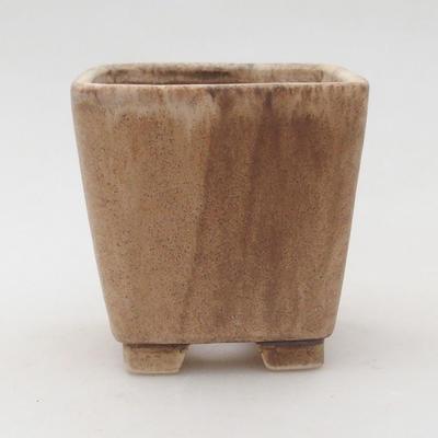 Ceramic bonsai bowl 7 x 7 x 7 cm, color beige - 1