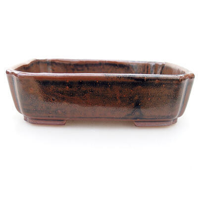 Ceramic bonsai bowl 15 x 12 x 4 cm, brown-black color - 1