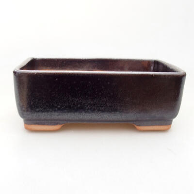 Ceramic bonsai bowl 15 x 10.5 x 5 cm, brown color - 1