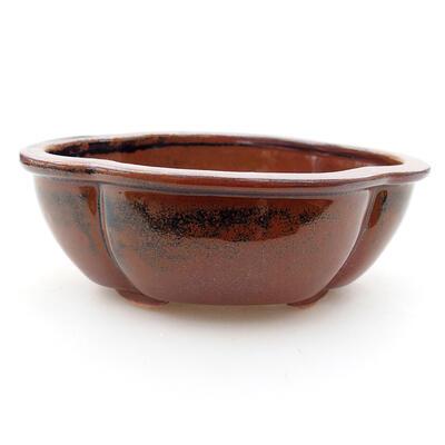 Ceramic bonsai bowl 12 x 10 x 4.5 cm, color brown - 1