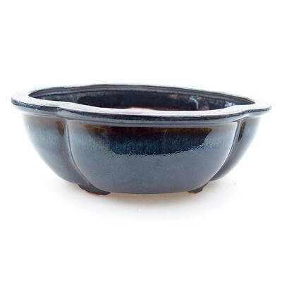 Ceramic bonsai bowl 12 x 10 x 4.5 cm, color blue-black - 1