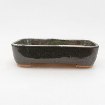 Ceramic bonsai bowl 12 x 10 x 3.5 cm, color green - 1