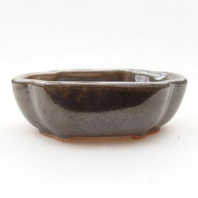Ceramic bonsai bowl 10 x 8.5 x 3 cm, color green - 1