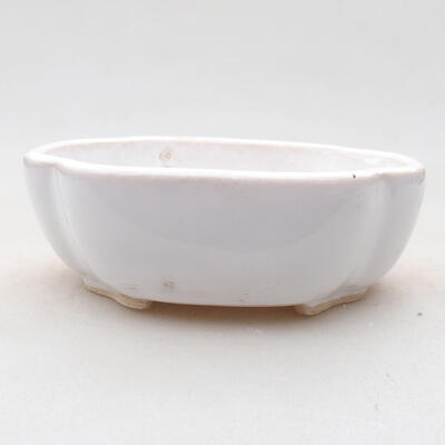 Ceramic bonsai bowl 10 x 8.5 x 3 cm, white color - 1