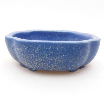 Ceramic bonsai bowl 10 x 8.5 x 3 cm, color blue - 1