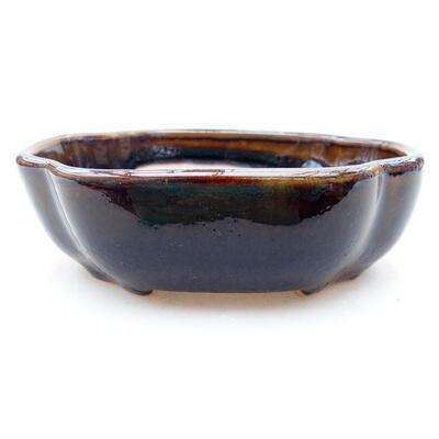 Ceramic bonsai bowl 10 x 8.5 x 3 cm, brown color - 1