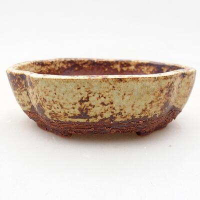 Ceramic bonsai bowl 10 x 8.5 x 3 cm, color brown-yellow - 1