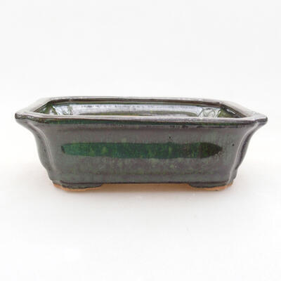 Ceramic bonsai bowl 12.5 x 10 x 4 cm, color green - 1