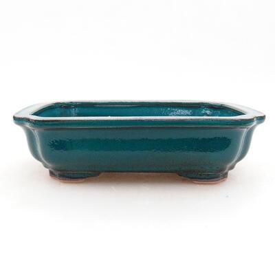 Ceramic bonsai bowl 13 x 10 x 3.5 cm, color green - 1