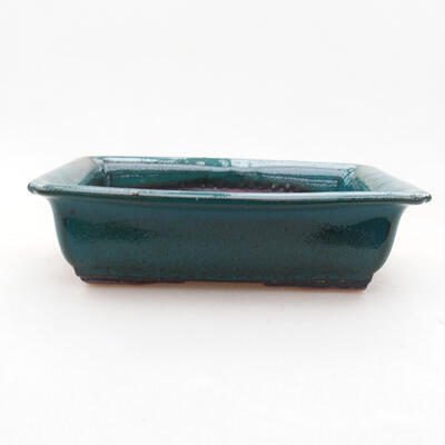Ceramic bonsai bowl 13.5 x 10 x 3.5 cm, color green - 1