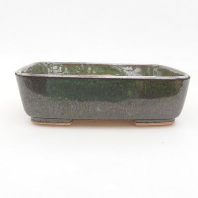 Ceramic bonsai bowl 15.5 x 12.5 x 4.5 cm, color green - 1