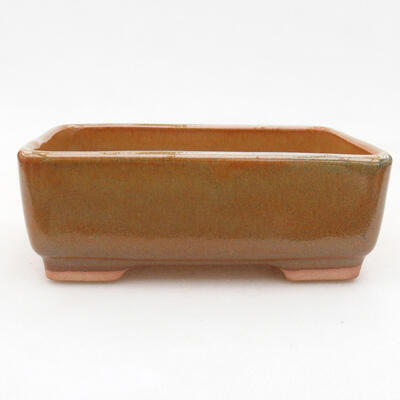 Ceramic bonsai bowl 14.5 x 11 x 5 cm, brown color - 1