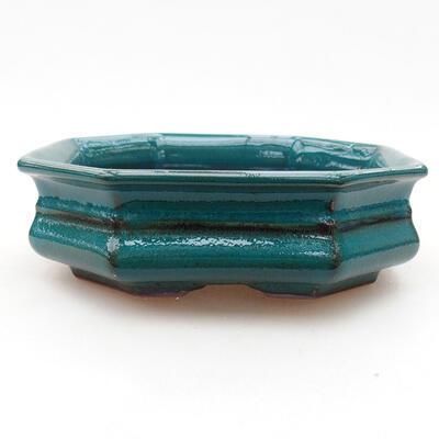 Ceramic bonsai bowl 13 x 13 x 4 cm, color green - 1