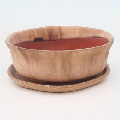 Bonsai bowl + tray H05 - tray 10.5 x 8.5 x 4.5 cm, tray 10 x 7.5 x 1 cm, beige - bowl 10.5 x 8.5 x 4.5 cm, tray 10 x 7.5 x 1 cm - 1