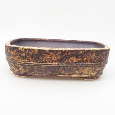 Ceramic bonsai bowl 24 x 19 x 7 cm, color yellow-brown - 1