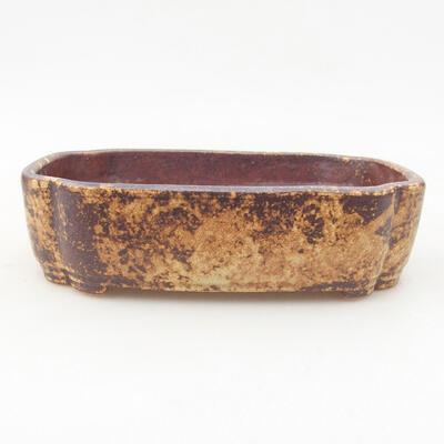 Ceramic bonsai bowl 15 x 11 x 4 cm, color brown-yellow - 1
