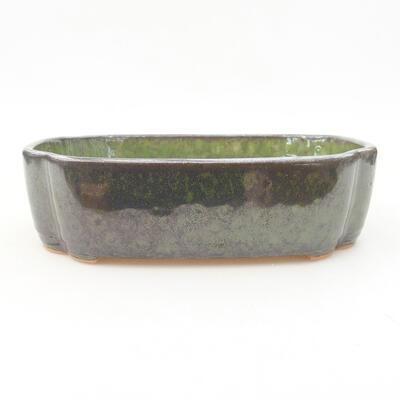 Ceramic bonsai bowl 17.5 x 13.5 x 5 cm, color green - 1