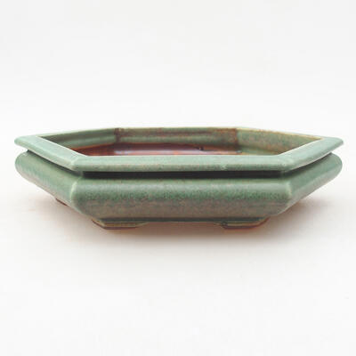 Ceramic bonsai bowl 18 x 16 x 3.5 cm, color green - 1