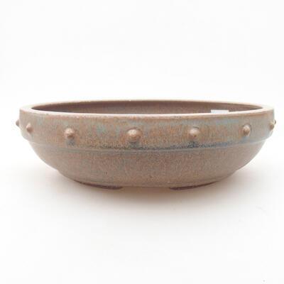 Ceramic bonsai bowl 20 x 20 x 5.5 cm, brown-blue color - 1