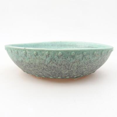 Ceramic bonsai bowl 17 x 17 x 4.5 cm, color green - 1