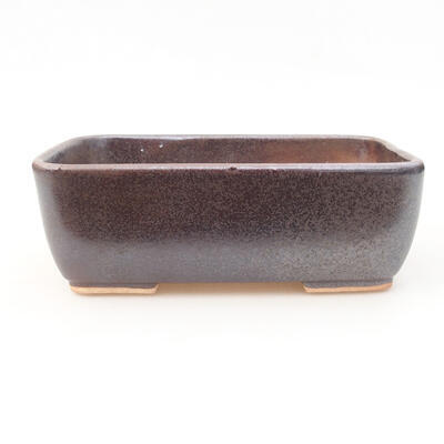 Ceramic bonsai bowl 15.5 x 10.5 x 5 cm, brown color - 1