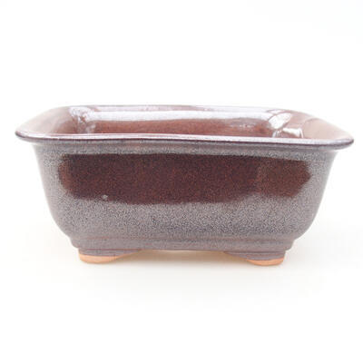 Ceramic bonsai bowl 13 x 10 x 5 cm, brown color - 1