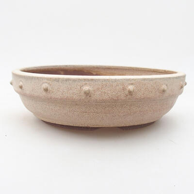 Ceramic bonsai bowl 19.5 x 19.5 x 5.5 cm, beige color - 1