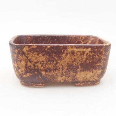 Ceramic bonsai bowl 13 x 10 x 5.5 cm, color brown-yellow - 1