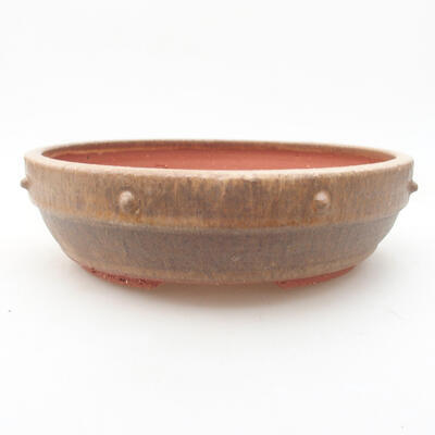 Ceramic bonsai bowl 19 x 19 x 5.5 cm, brown color - 1