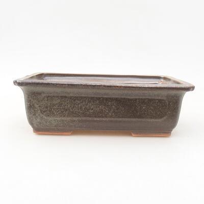 Ceramic bonsai bowl 16.5 x 11 x 5 cm, color brown-green - 1