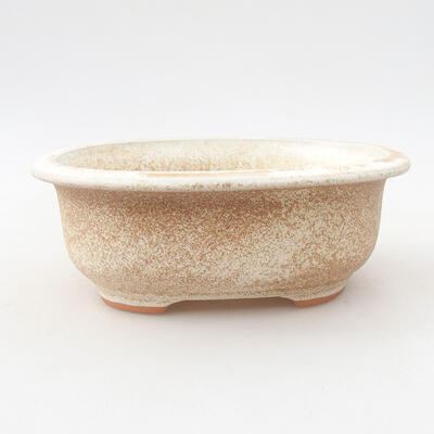 Ceramic bonsai bowl 14 x 11 x 5 cm, beige color - 1