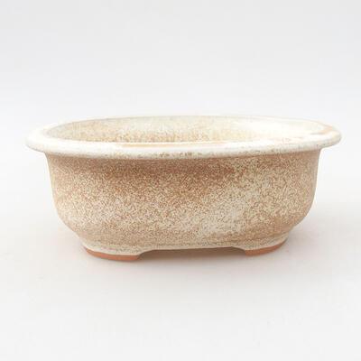 Ceramic bonsai bowl 14 x 11 x 5 cm, beige color - 1