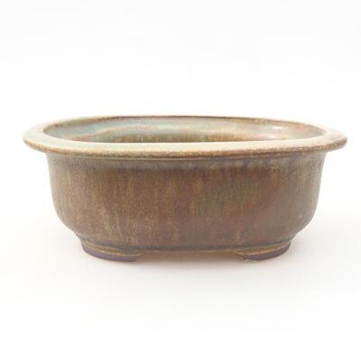 Ceramic bonsai bowl 14 x 11 x 5 cm, color brown-green - 1