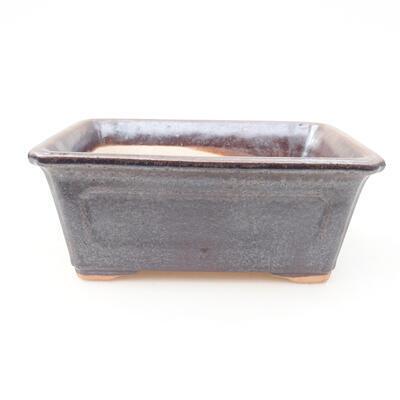 Ceramic bonsai bowl 13 x 10 x 5 cm, brown color - 1