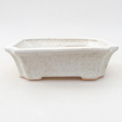 Ceramic bonsai bowl 12.5 x 10 x 4 cm, white color - 1