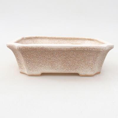 Ceramic bonsai bowl 12.5 x 10 x 4 cm, beige color - 1