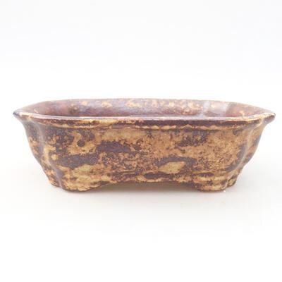 Ceramic bonsai bowl 15 x 12 x 4 cm, color brown-yellow - 1
