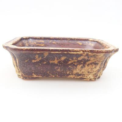 Ceramic bonsai bowl 12 x 9.5 x 4 cm, color brown-yellow - 1