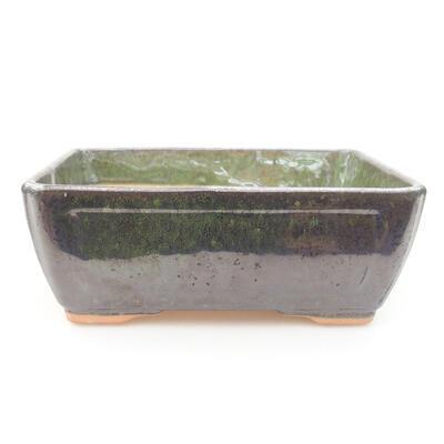 Ceramic bonsai bowl 15 x 11.5 x 5.5 cm, color green - 1