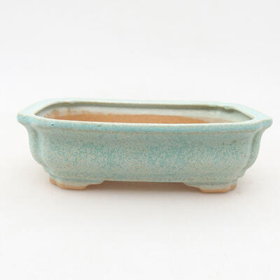 Ceramic bonsai bowl 13 x 9.5 x 3.5 cm, color green - 1