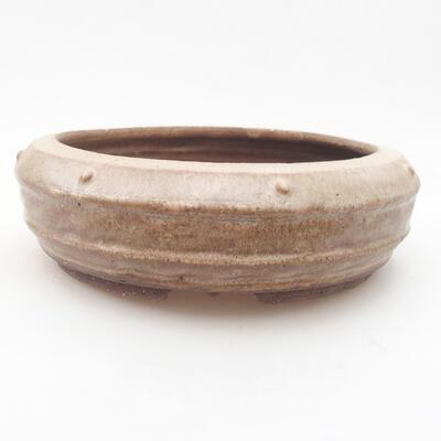 Ceramic bonsai bowl 17.5 x 17.5 x 6 cm, brown color - 1