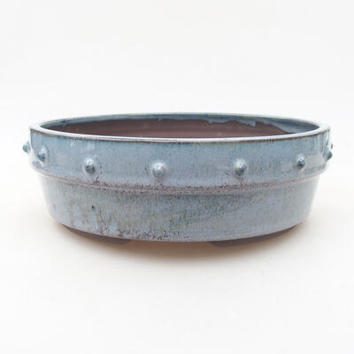 Ceramic bonsai bowl 19.5 x 19.5 x 6.5 cm, color blue - 1