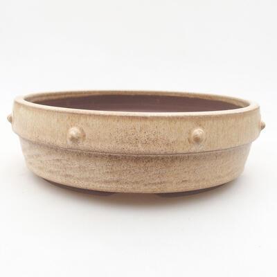 Ceramic bonsai bowl 18 x 18 x 5.5 cm, beige color - 1