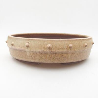 Ceramic bonsai bowl 21.5 x 21.5 x 5.5 cm, beige color - 1