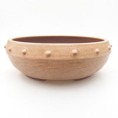 Ceramic bonsai bowl 19.5 x 19.5 x 7 cm, beige color - 1