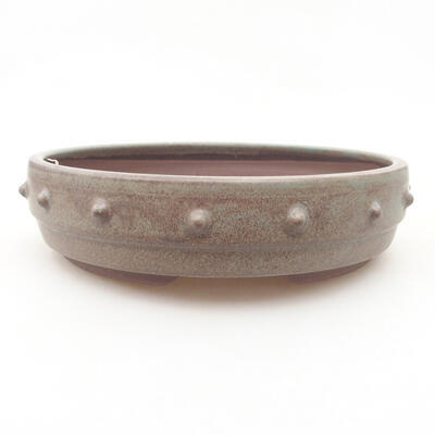 Ceramic bonsai bowl 18 x 18 x 4.5 cm, gray color - 1