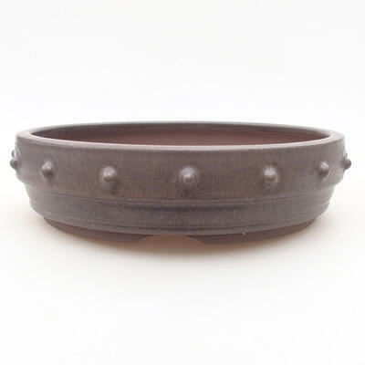 Ceramic bonsai bowl 18 x 18 x 4.5 cm, brown color - 1