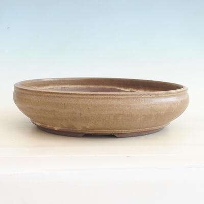 Ceramic bonsai bowl 37.5 x 37.5 x 9 cm, brown color - 1
