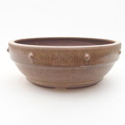 Ceramic bonsai bowl 16 x 16 x 5.5 cm, brown color - 1