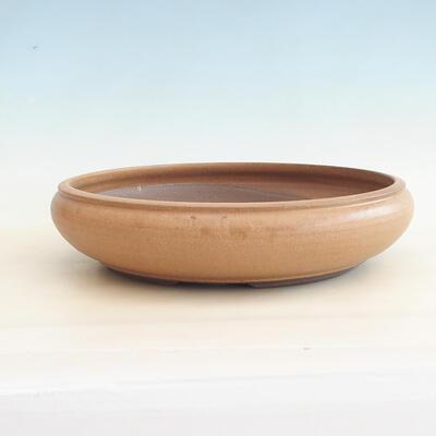 Ceramic bonsai bowl 34 x 34 x 8.5 cm, brown color - 1
